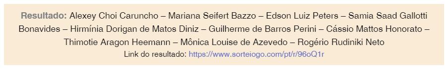 Confira abaixo o resultado do sorteio dos 10 tesistas que receberão ajuda de custo para serem apresentadas no XXIII Congresso Nacional do Ministério Público, que ocorrerá em Goiânia (GO).